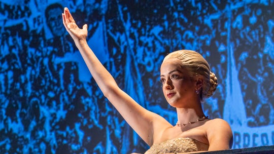 "Alina Marie Gonzalez is Eva Perón, the wife of the Argentinean strongman Juan Peron, in ""Evita,"" COS' spring musical about her early life, rise to power, charity work, and eventual death."