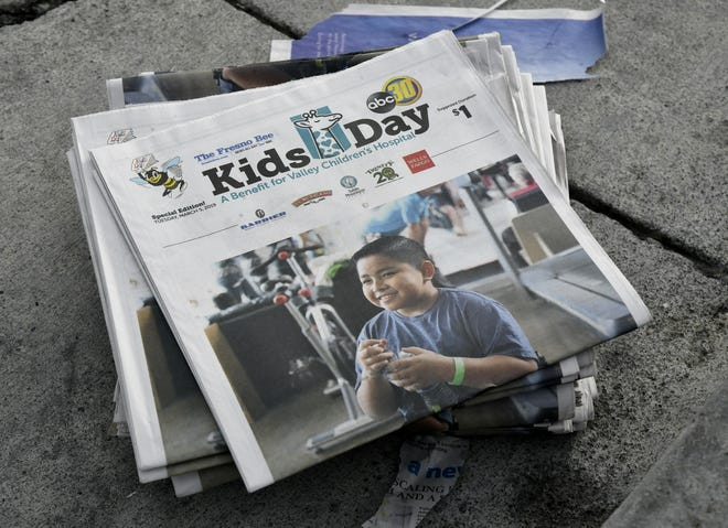 TUlare County students sell Kids Day papers to benefit Valley Children's Hospital on Tuesday, March 5, 2019.