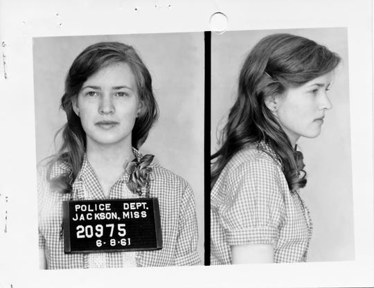 Jackson, Mississippi, mugshot of Joan Trumpauer Mulholland.
