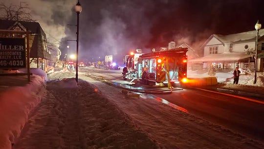 A firetruck parked near the Oneida Village Inn Monday night in Three Lakes.