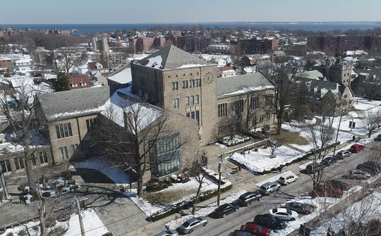Aerial images of The College of New Rochelle in New Rochelle on Tuesday, March 5, 2019.