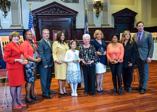 Recipients of Yonkers' 'Women of Distinction' awards following a City Hall ceremony in March 2018