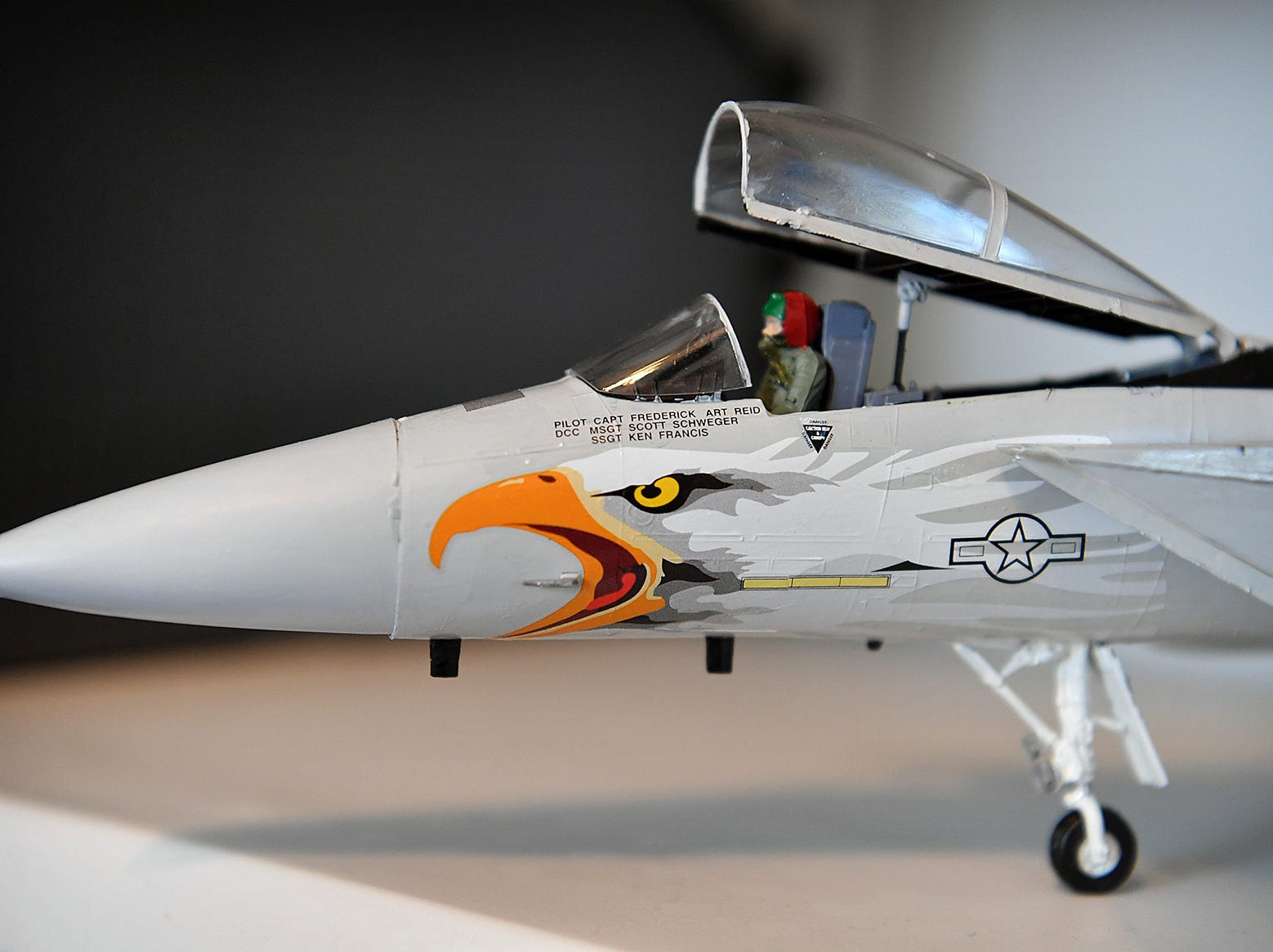 Military aircraft models built by Jack Riddle have plenty of detail including using authentic U.S. military colors.