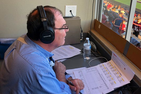 Vernon broadcaster Mike Klappenbach gets ready to call the Lions' football game against Burkburnett last fall.