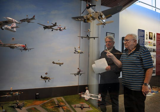 Robert Seabury, left, and Jack Riddle look over the display of model aircraft depicting the variety of planes flown by Wichitans in the military in this 2016 file photo. Riddle built and painted the 1/48th scale models which are completely authentic in design and detail. The exhibit is displayed at the Wichita Falls Regional Airport in the Jenny To Jet exhibit which shows the history of military aviation in Wichita Falls.