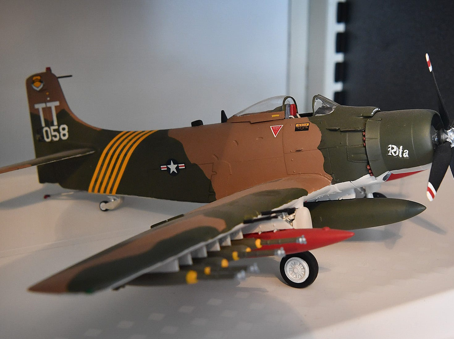 Jack Riddle built this replica Douglas A-1 Skyraider as part of his collection of military aircraft models from WWII, Korea, and Vietnam.