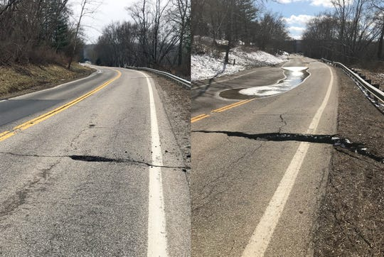 In less than two weeks, a landslide along Ohio 376 has caused serious damage to the roadway. The photo on the left was taken on Feb. 22, the day ODOT closed the route. The photo on the right was taken on March 4.
