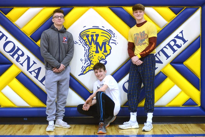 West Muskingum wrestlers (left to right), Carter Winegardner, Kaleb McFee and Andrew Knaup, will compete in the Division III state meet this weekend. This is the first time in program history where three Tornadoes will participate in the same state meet.