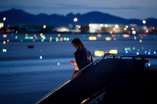 First lady Melania Trump arrived at McCarran International Airport in Las Vegas as the sun was setting on March 4.