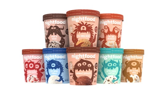 Nightfood has developed what it says is a sleep-friendly ice cream. Eight flavors are available.
