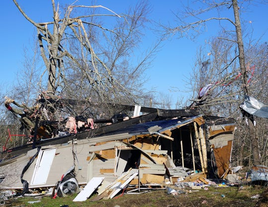 The remnants of Steve Whatley's house, where he and his family, along with a friend, sought refuge during a March 3, 2019, tornado in Beauregard, Alabama.
