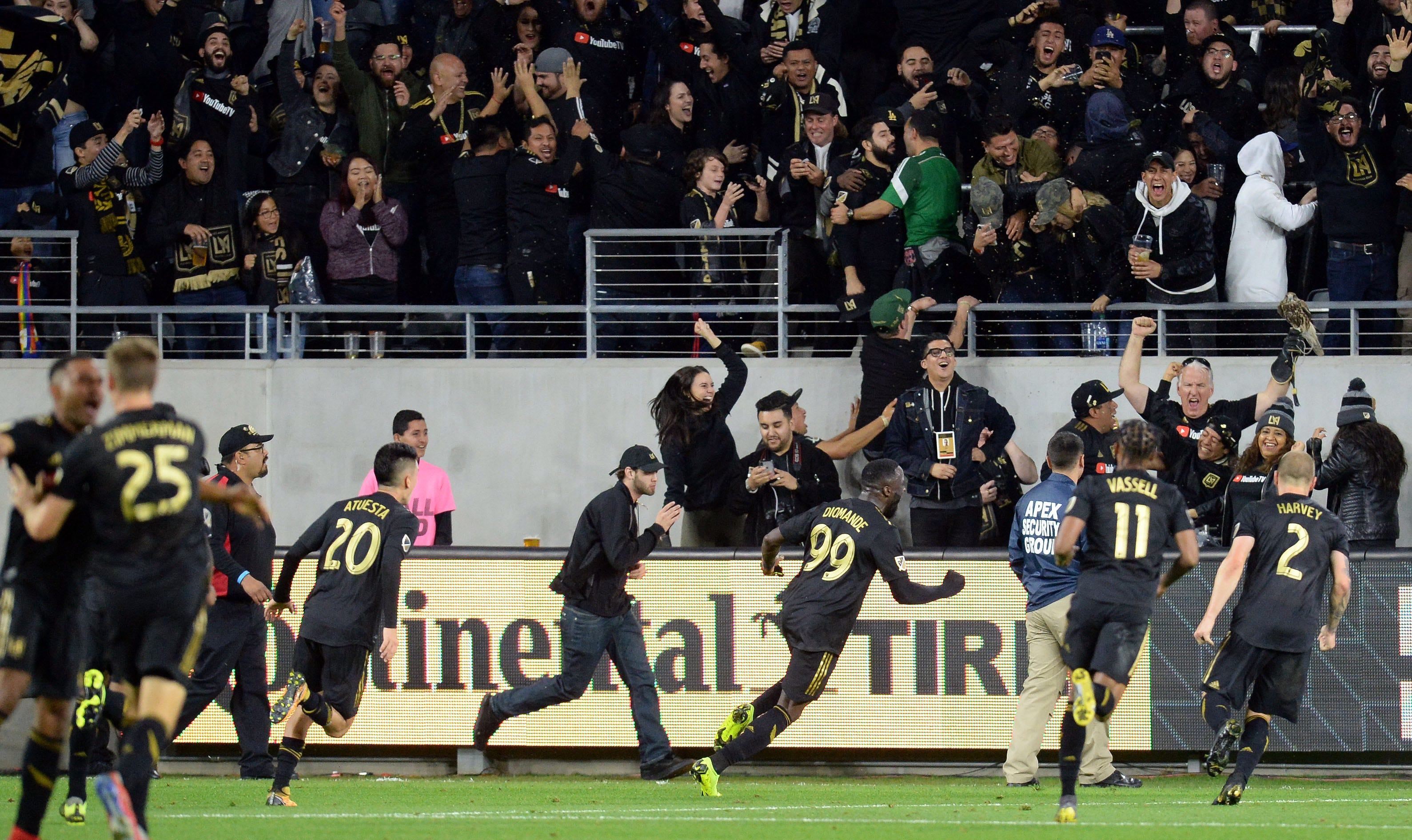 Los Angeles FC forward Adama Diomande (99) celebrates his go-ahead goal in stoppage time against Sporting Kansas City at Banc of California Stadium. LAFC won the game, 2-1.