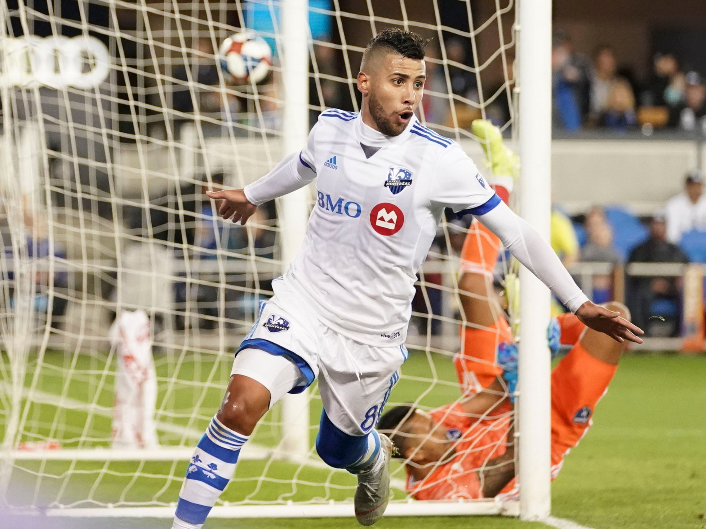 Montreal Impact midfielder Saphir Taider celebrates after scoring a goal past San Jose Earthquakes goalkeeper Daniel Vega during the first half at Avaya Stadium. Montreal won the game, 2-1.