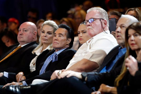 """""""Mr Las Vegas,"""" singer Wayne Newton, third from left, at a town hall on the opioid epidemic featuring first lady Melania Trump, in the Sin City theater where Newton used to perform, March 5, 2019."""