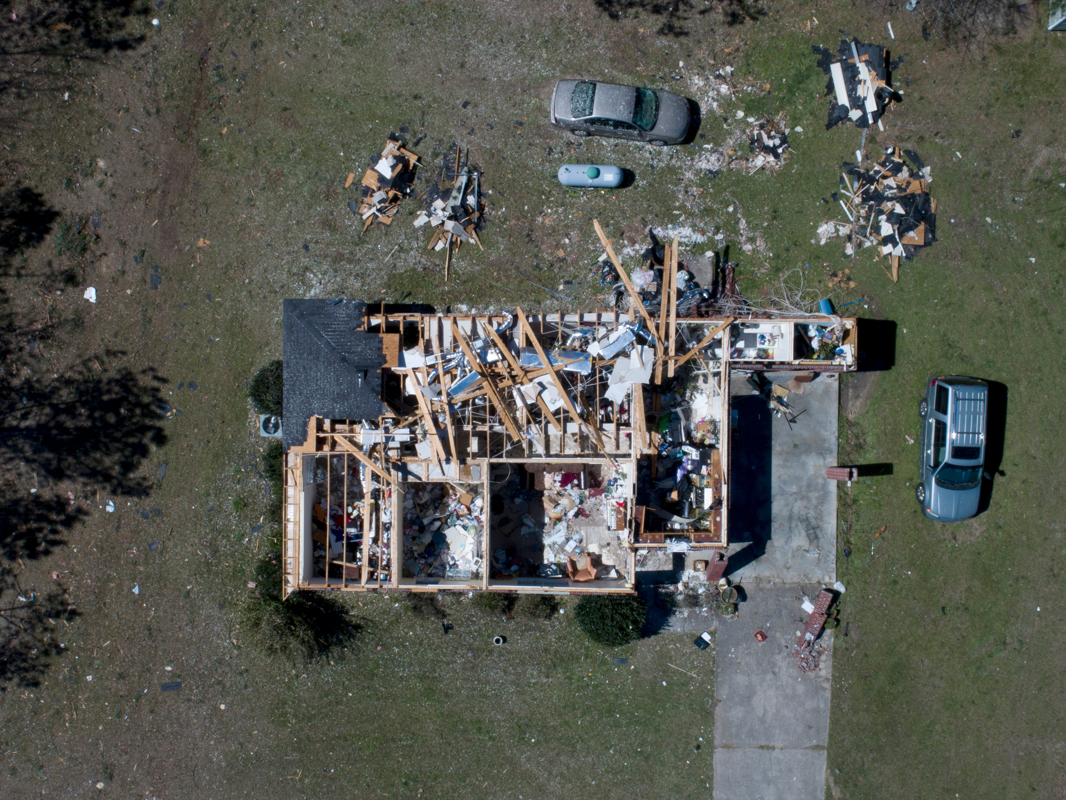 This home along Route 165 in Beauregard, Ala. was heavily damaged during the tornadoes on Sunday March, 3, 2019. This image was taken with a drone March 5, 2019.