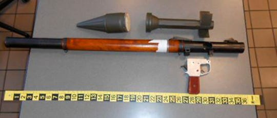 Transportation Security Administration agents in Pennsylvania found the disassembled parts of a military rocket propelled grenade launcher in a Florida man's checked bag on Monday. After assembling the pieces, officials determined the launcher was a realistic replica.