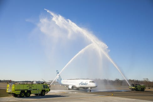 The first Alaska Airlines departure from the new Paine Field terminal in Everett, Washington, receives a ceremonial water-cannon salute on March 4, 2019, as the flight readied for takeoff.