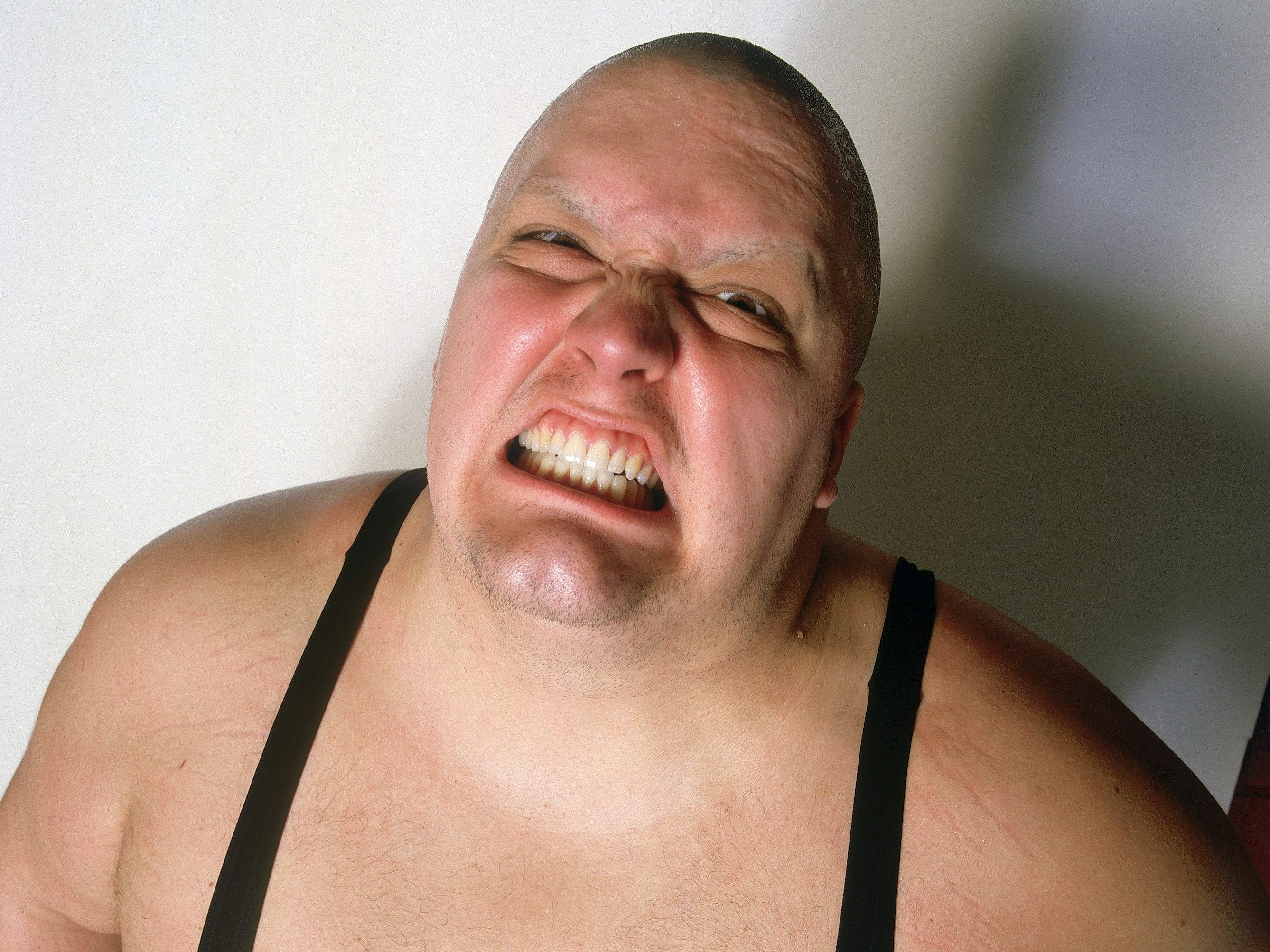 King Kong Bundy posing during a photo shoot at Madison Square Garden in  New York City on March 17, 1985.