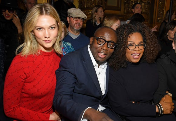(L-R) Karlie Kloss, Edward Enninful and Oprah Winfrey attend the Stella McCartney show during Paris Fashion Week on March 04, 2019.
