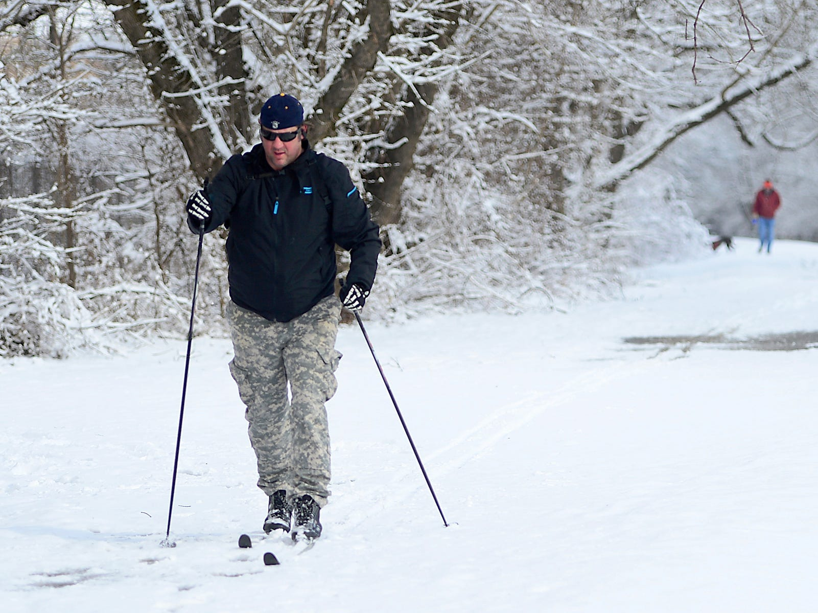 Chad Cowles of Falling Waters, W.Va., skis on the towpath of the Chesapeake and Ohio Canal in Williamsport, Md. on March 4, 2019.