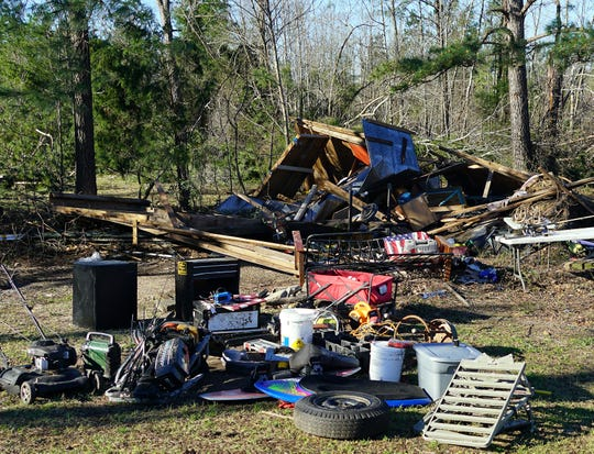 Steve Whatley's shed, which was destroyed during a March 3, 2019, tornado in Beauregard, Alabama.