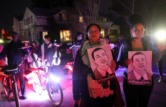 Black Lives Matter protesters march through the streets as they demonstrate the decision by Sacramento District Attorney to not charge the Sacramento police officers who shot and killed Stephon Clark last year on March 04, 2019 in Sacramento, California.