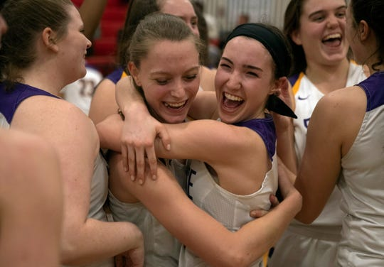 St. Rose's Lauren Lithgow and Abby Antognoli hug as they celebrate their title. St Rose Girls basketball vs St. John Vianney in Non-Public South A basketball final in Jackson, NJ on March 5, 2019.