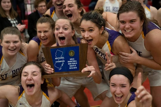St. Rose celebrate their victory. St Rose Girls basketball vs St. John Vianney in Non-Public South A basketball final in Jackson, NJ on March 5, 2019.