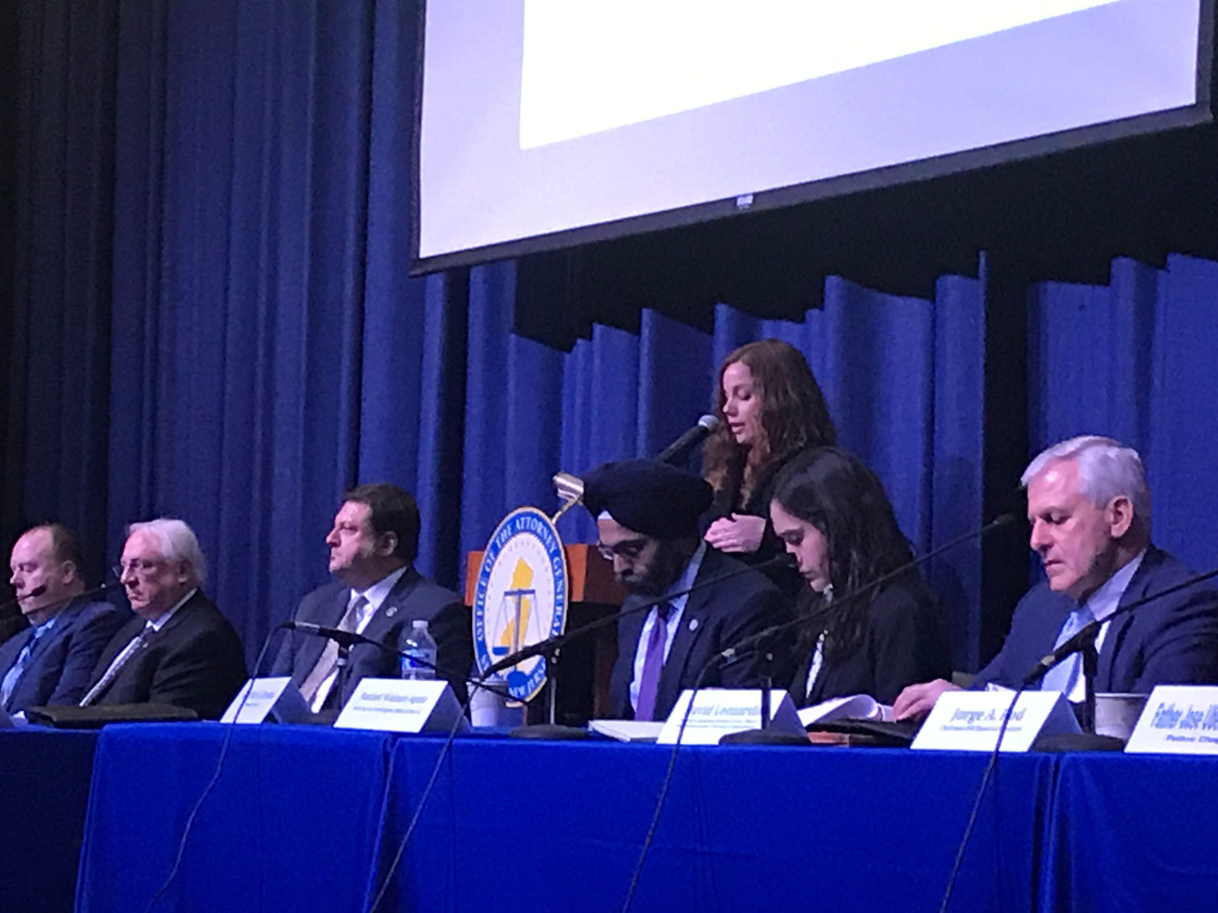 Assistant Prosecutor Alyssa K. Mandara speaks at a town hall meeting March 5.