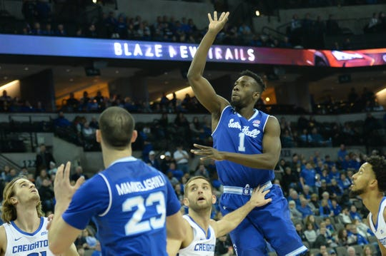 Seton Hall Pirates forward Michael Nzei (1) attempts a shot against the Creighton Bluejays in the first half at CHI Health Center Omaha.