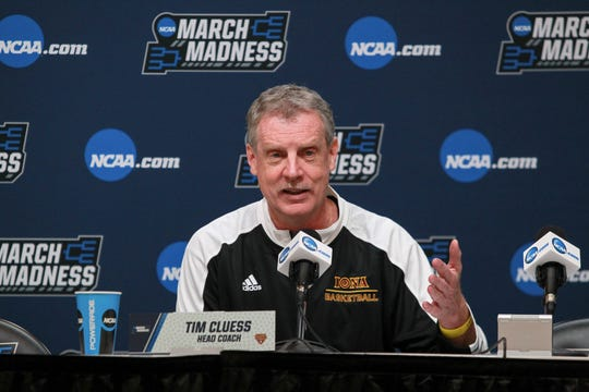 Iona Gaels head coach Tim Cluess answers questions from media during the practice day before the first round of the 2018 NCAA Tournament at PPG Paints Arena.