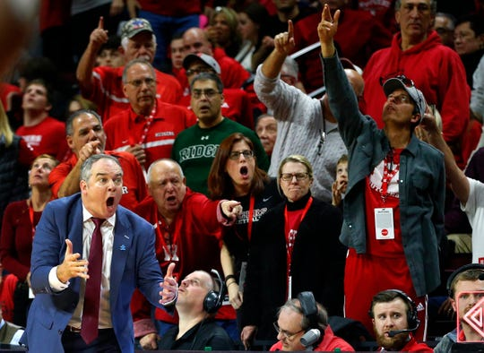 Rutgers Scarlet Knights head coach Steve Pikiell reacts during the second half against Iowa Hawkeyes at Rutgers Athletic Center (RAC).