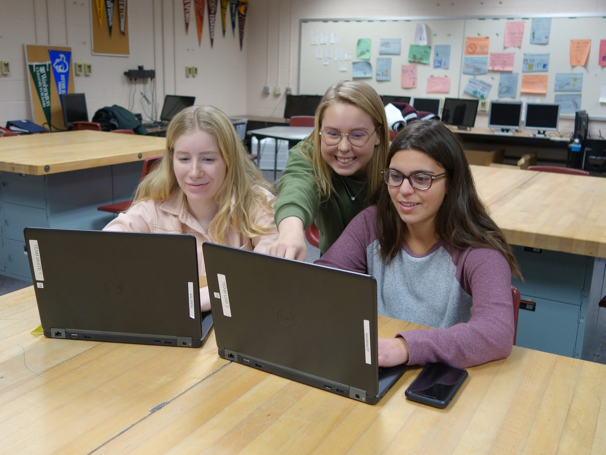 Red Bank Regional technology students were among four teams in the nation that won the first annual Girls Go Cyberstart/Cisco Essay Contest.  Pictured are: Mackenzie Wood, 17, of Oceanport; Tess Hintelmann, 16, of Little Silver; and Allessandra Swart, 16, of Spring Lake.  The other three winners were from teams in Indiana, Texas and High Tech High in Lincroft, New Jersey.