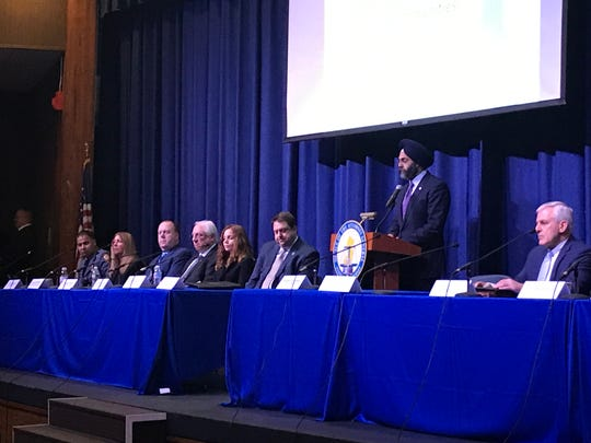Attorney General Gurbir Grewal and Ocean County Prosecutor Bradley Billhimer hosted a town hall meeting March 5 at Lakewood High School.