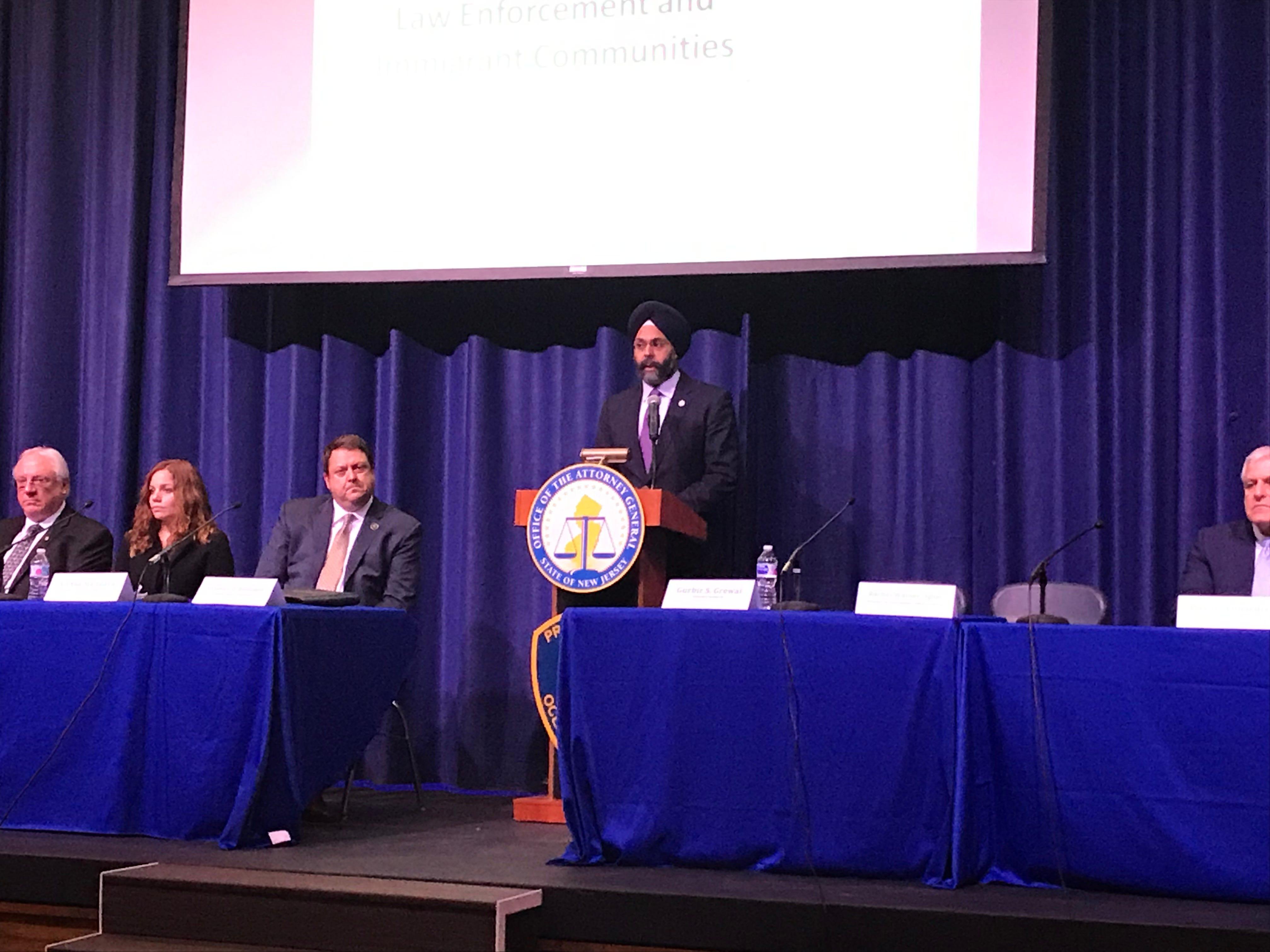 Attorney General Gurbir Grewal and Ocean County Prosecutor Bradley Billhimer hosted a town hall meeting March 5 at Lakewood High School.