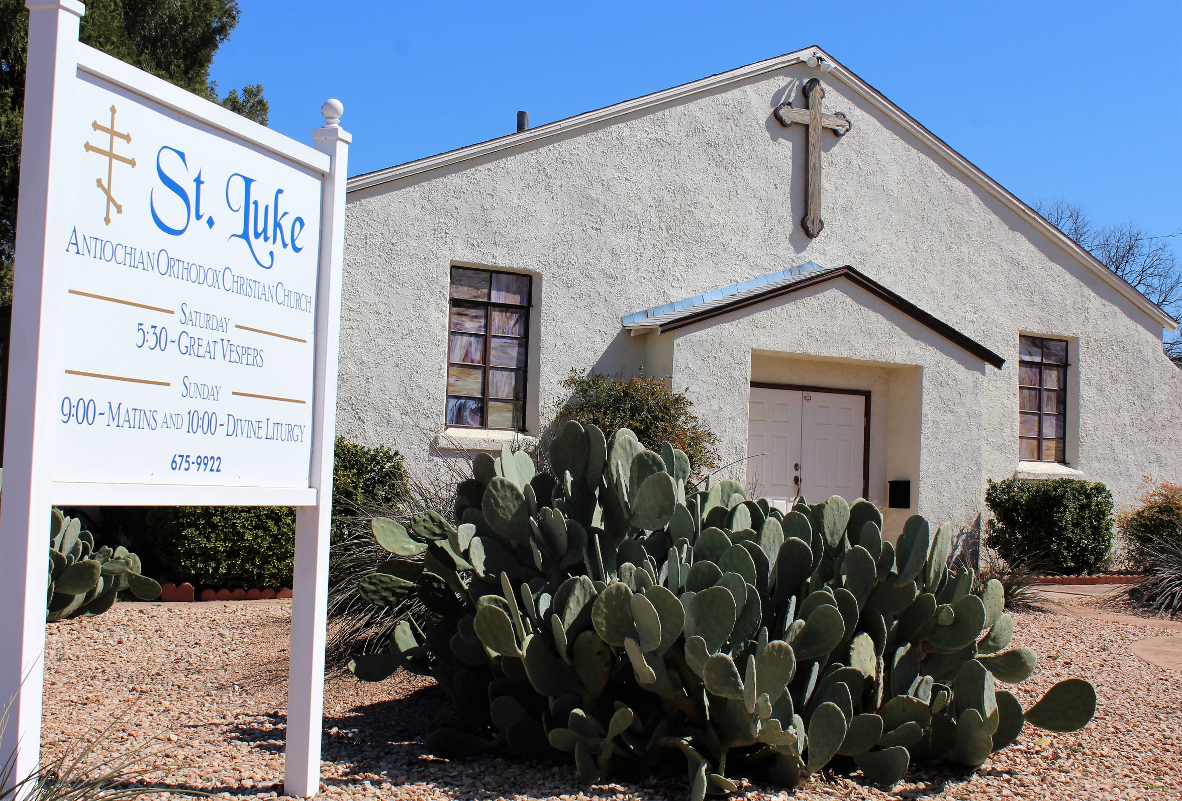St. Luke Orthodox Church has an exterior look appropriate for West Texas.