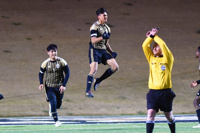 Abilene High's Joseph Martinez (7) celebrates scoring the game-tying goal against Euless Trinity at Shotwell Stadium on Tuesday, March 5, 2019. The Eagles came back to tie the game 2-2 in regulation and won 5-4 in penalty kicks.
