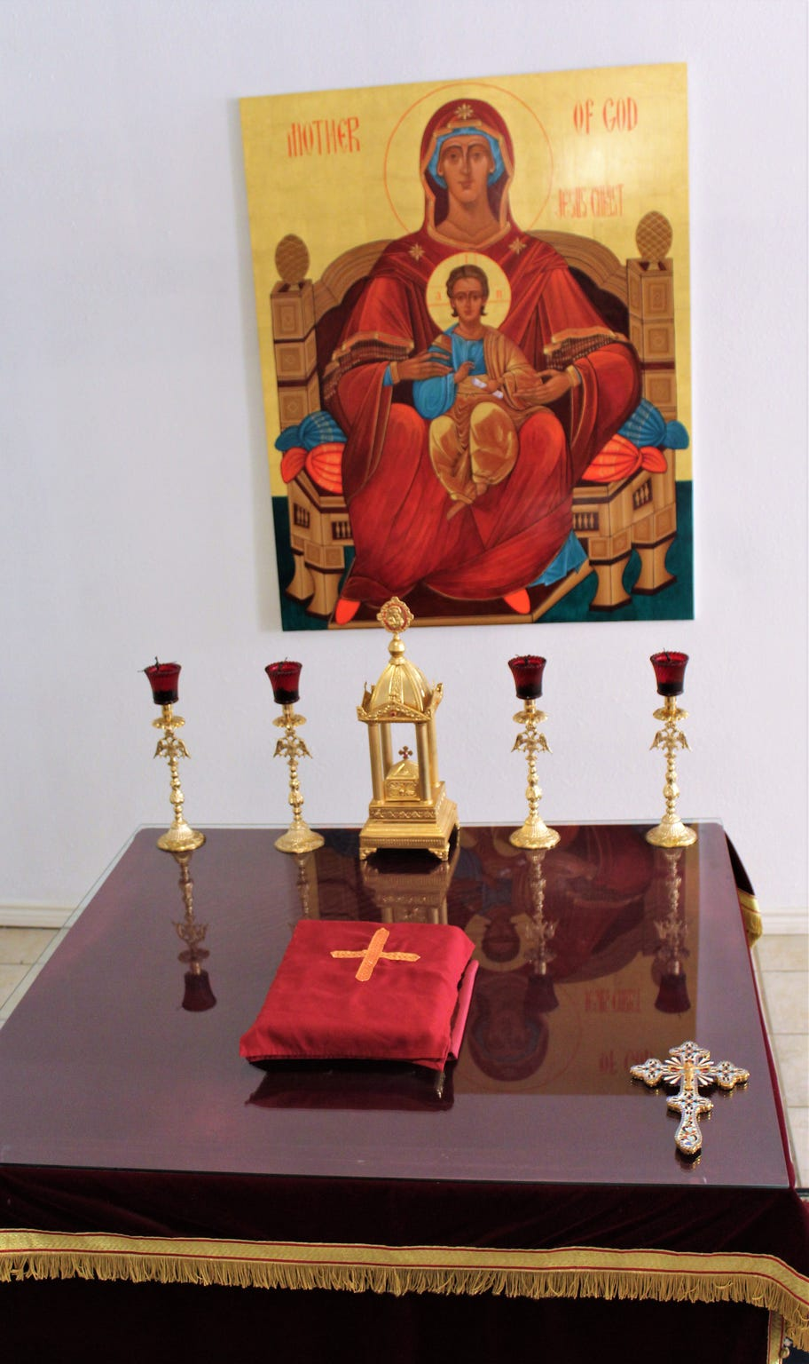 Theotokos, or Mother of God, is a new icon written by Linda Fowler. The 4 x 5-foot artwork was placed behind the altar at St. Luke Orthodox Church.