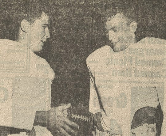 """Jon Harrison, left, and teammate Jack Mildren were called """"Cooper's unbeatable combination"""" in a 1967 Reporter-News story."""