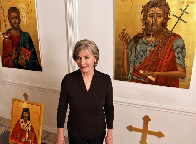 """Linda Fowler has """"written"""" the icons displayed throughout St. Luke Orthodox Church, where she is a member."""