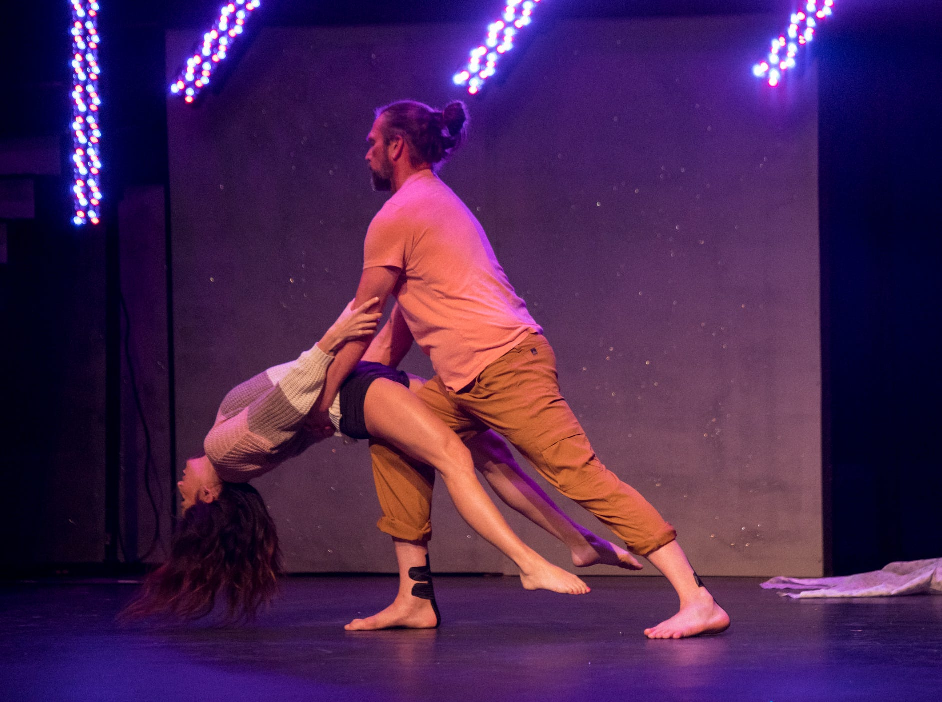 """Kenny Capps, executive director of Throwing Bones for a Cure and his pro dance partner Sarah Brown perform at the inaugural """"Dancing with the Local Stars"""" fundraiser for the American Cancer Society Feb. 24, 2019, at the Diana Wortham Theatre."""