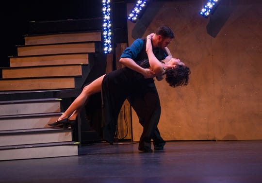 "Citizen Times outdoors reporter Karen Chavez and pro dance partner Jason Barnes perform at the inaugural ""Dancing with the Local Stars"" fundraiser for the American Cancer Society Feb. 24, 2019, at the Diana Wortham Theatre."