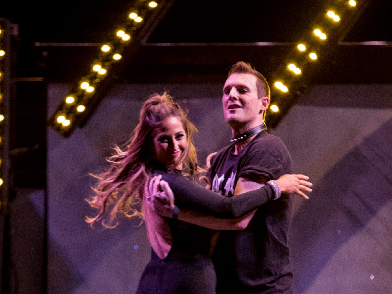 """WLOS chief meteorologist Jason Boyer and pro partner Meghan Lavender perform at the inaugural """"Dancing with the Local Stars"""" fundraiser for the American Cancer Society Feb. 24, 2019, at the Diana Wortham Theatre."""