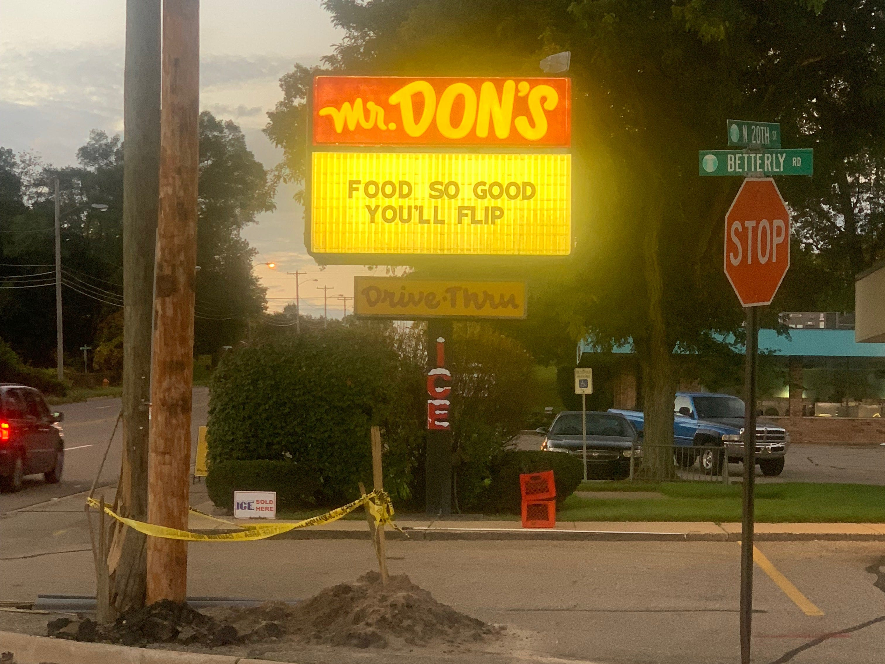 A message on the marquee in front of Mr. Don's, 341 North 20th Street in Springfield after a car flipped over and crashed into a utility pole near the business.