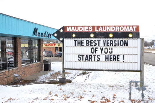 The latest message on the marquee in front of Maudie's Laundromat in Springfield.