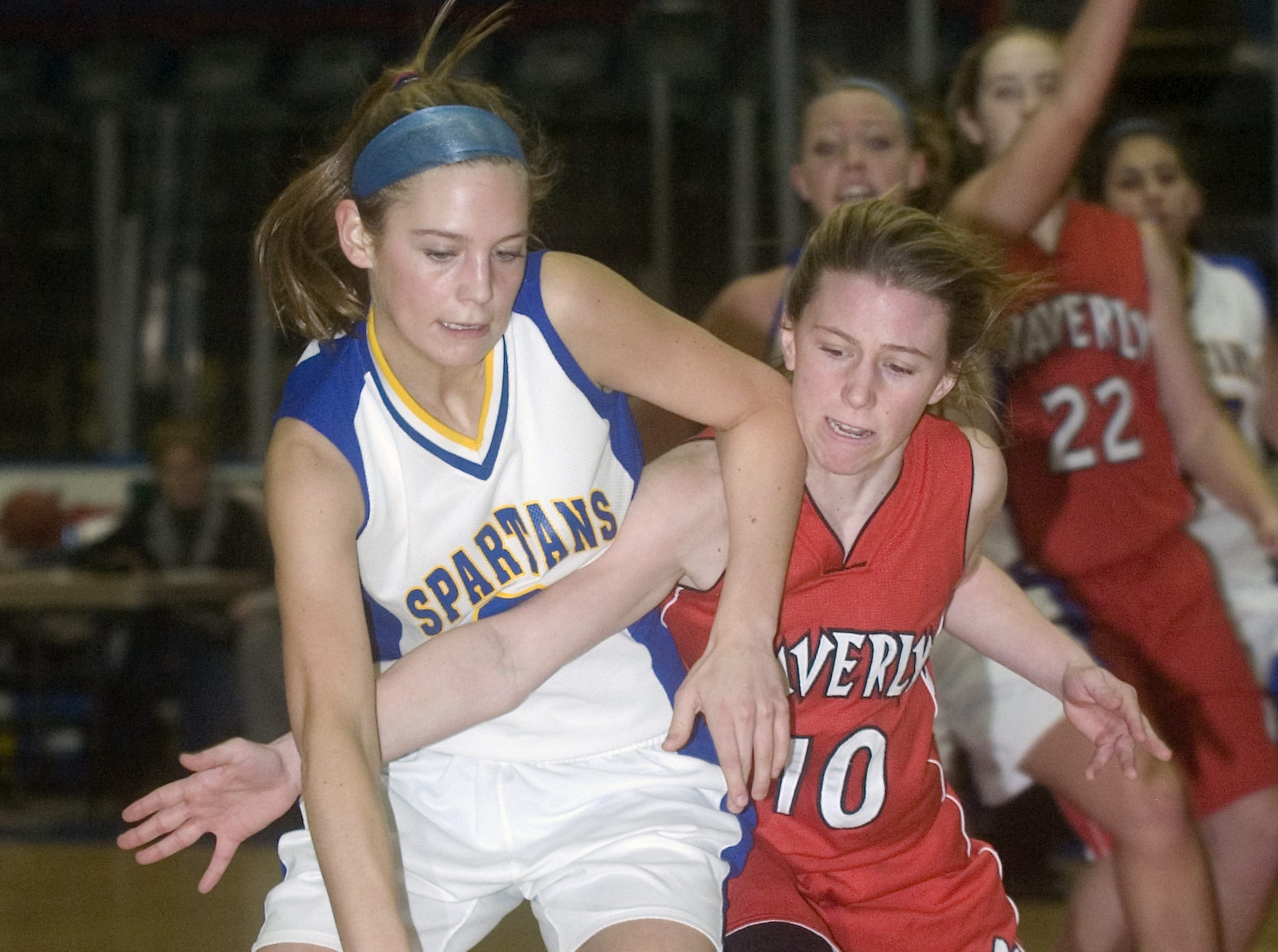 2009: Maine-Endwell's Laura Mastro, left, is fouled by Waverly's Lindsey Leary on defense in the third quarter of Thursday's Section 4 Class A girls basketball finals at Broome County Veterans Memorial Arena.