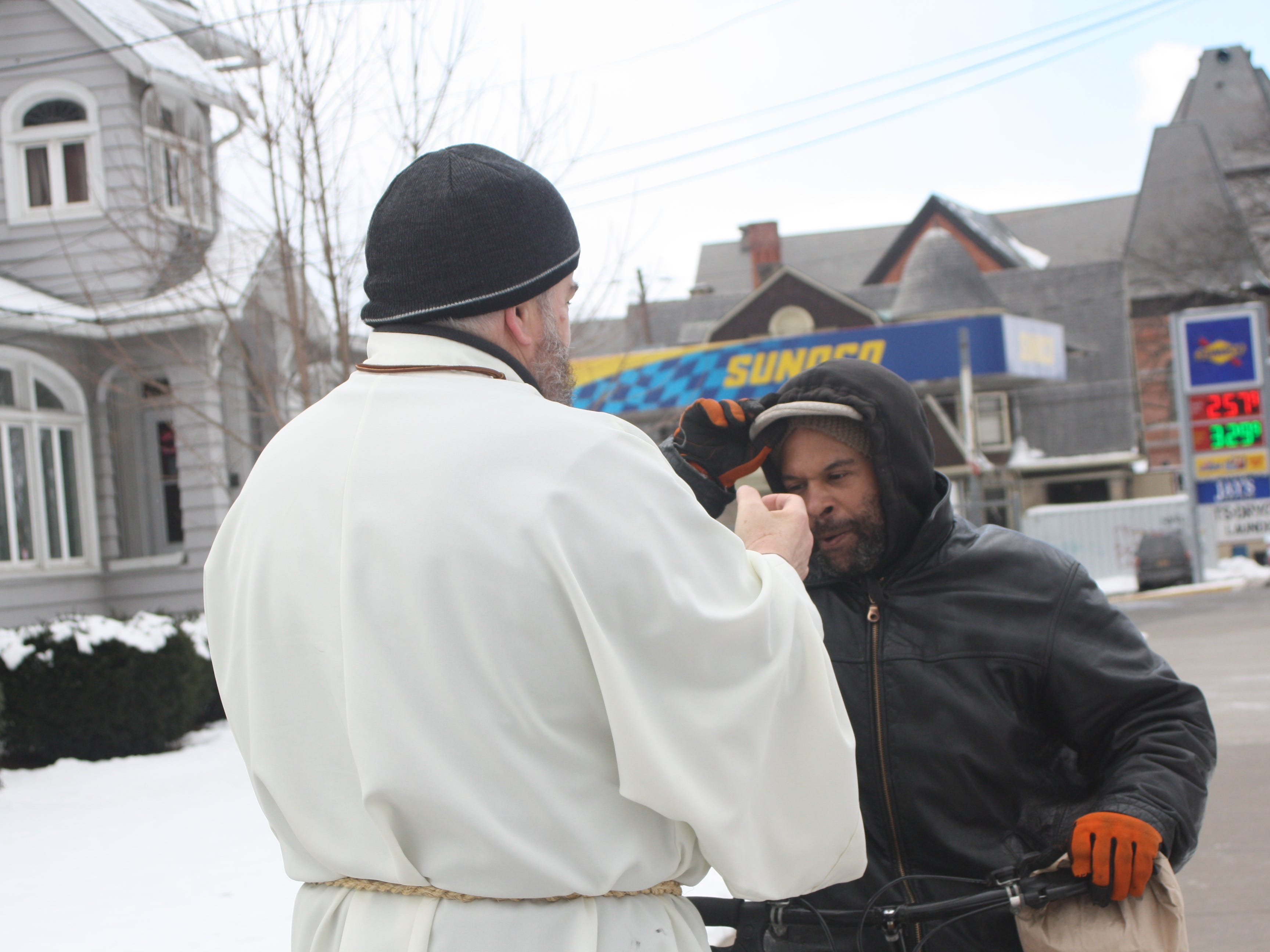 Clergy from Redeemer Lutheran Church in Binghamton and Christ the King Lutheran Church provided ashes to passersby on the street for Ash Wednesday.