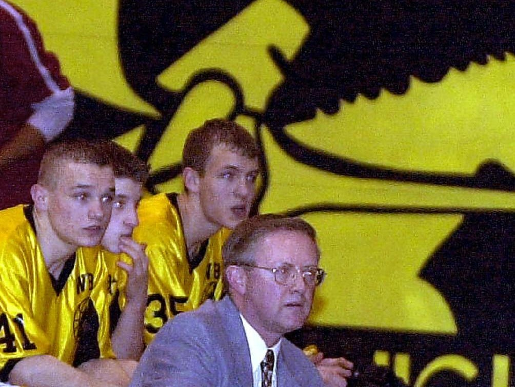 2001: Head Coach of the Windsor boys varsity basketball team Gary Vail talks to his players from the sidelines during a game against Whitney Point Wednesday night.