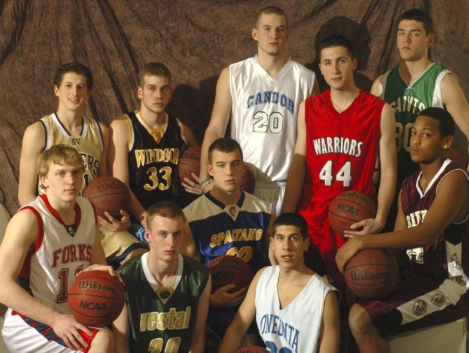 2005 All-Metro Boys Basketball team. Front, left to right, Zach Fredenburg of Chenango Forks, Chris Baltz of Vestal, Rob Krowiak of Maine-Endwell, Chris Garcia of Oneonta, and Eric Dorsey of Sidney.  In back are, from left to right, Joel Patch of Susquehanna Valley, Tyler Rathmell of Windsor, Chris Davenport of Candor, Jason Stenta of Chenango Valley, and Sam Thomas of Seton Cathoplic Central.