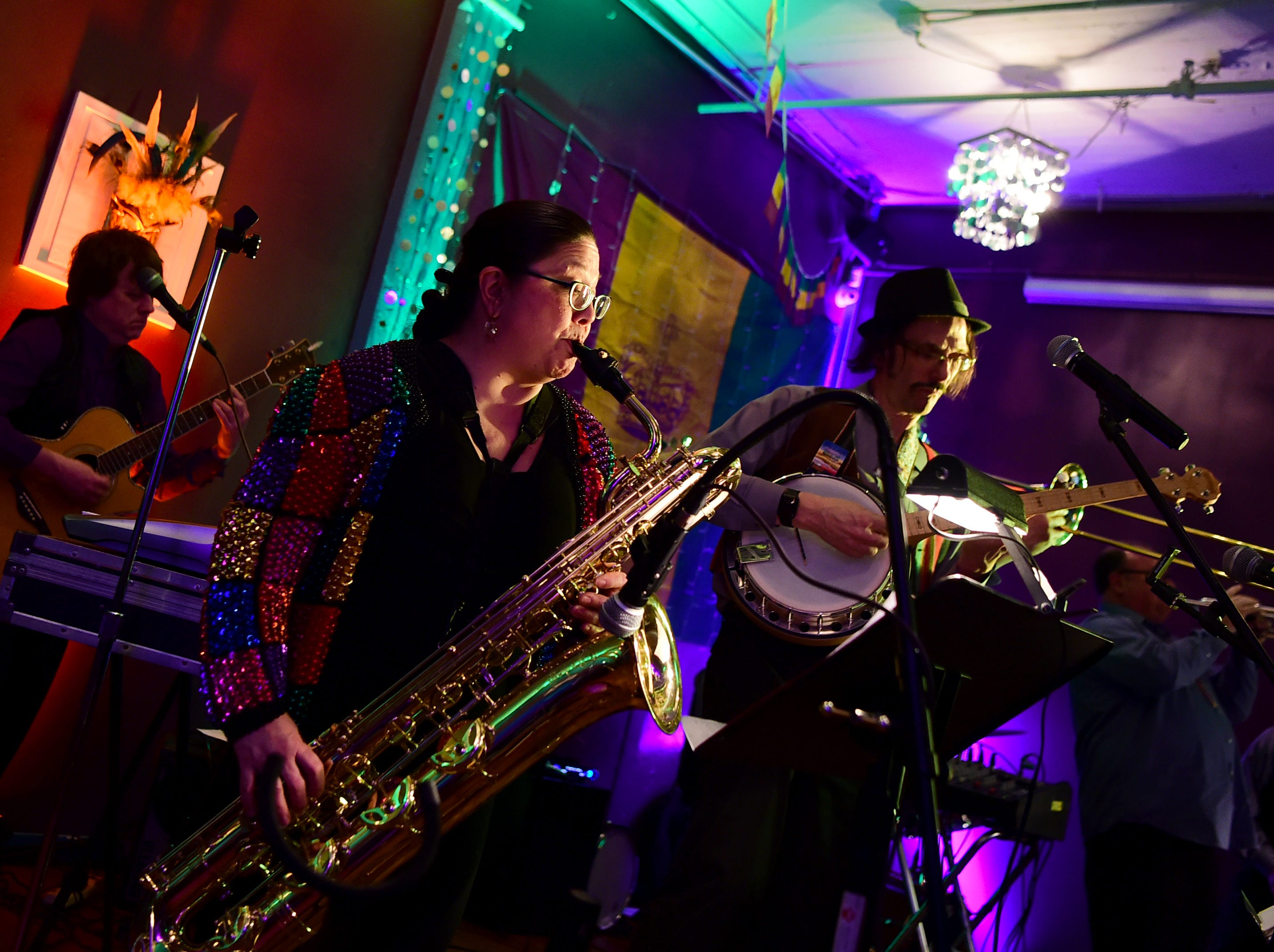 Basin Street Jazz Band during the 25th annual Rockin' Mardi Gras Celebration at the Lost Dog Cafe & Lounge in downtown Binghamton. March 5, 2019.